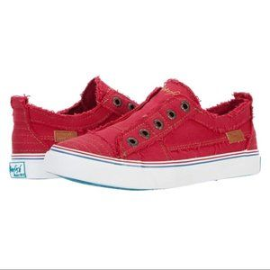 Blowfish Distressed Canvas Red Slip-On Sneaker